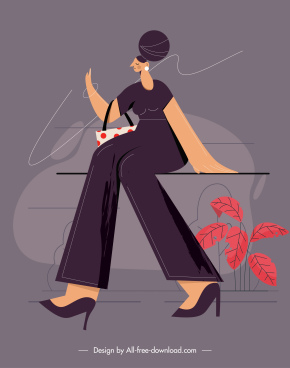 lifestyle painting resting lady cartoon character sketch