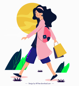 lifestyle painting shopping girl icon cartoon character
