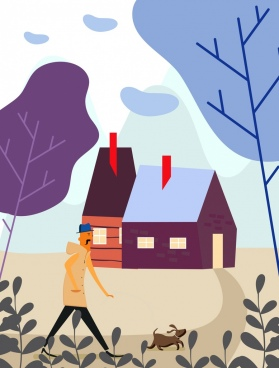 lifestyle painting walking man house pet icons