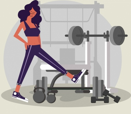 lifestyle painting woman gymnasium icons cartoon design