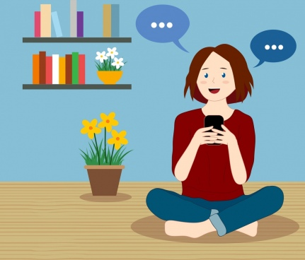 lifestyle painting woman smartphone conversation icons cartoon character