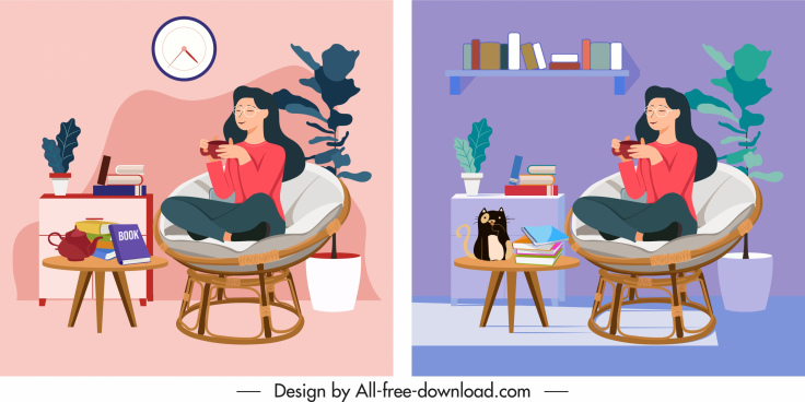 lifestyle paintings resting woman sketch cartoon design