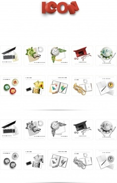 objects icons modern black white colorful sketch