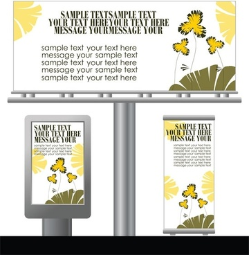 light box billboards 1 template design vector