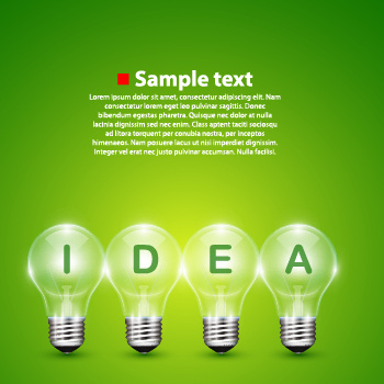 light bulb and green background vector