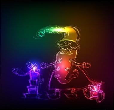 christmas background sparkling lights santa icon sketch