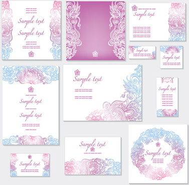 light color decorative pattern cards vector