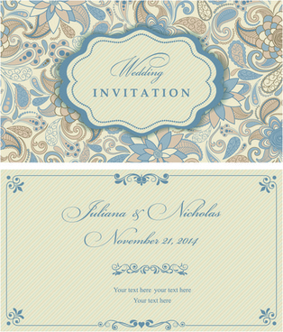 light color floral wedding invitations vector