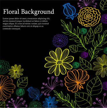 light floral on dark background