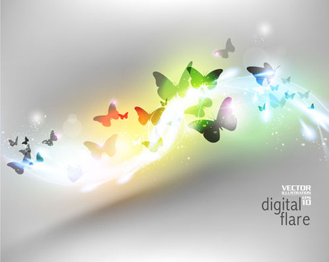 light wave with butterflies vector background