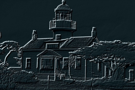 lighthouse embossed
