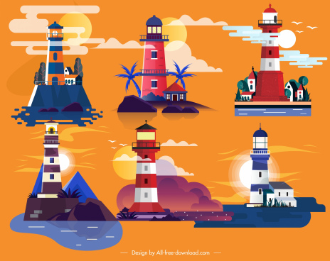 lighthouse icons colorful classical design