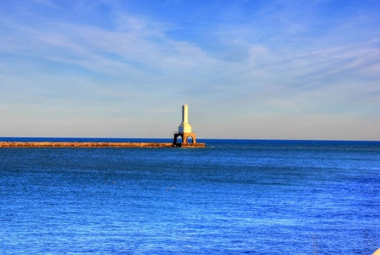 lighthouse in the afternoon at port washington wisconsin