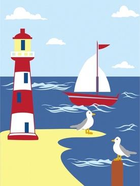 lighthouse on seaside scene painting