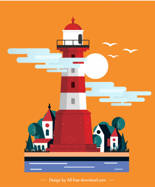 lighthouse painting colorful classic design