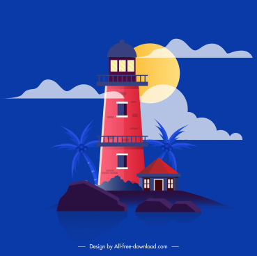 lighthouse painting colorful retro design
