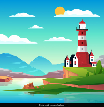 lighthouse scenery painting bright colorful design