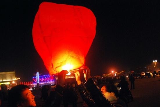 lighting floating red lantern