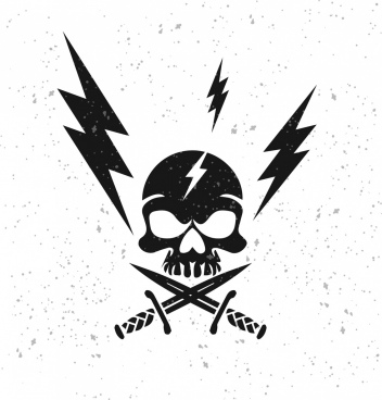 lightning background black white design skull sword icons