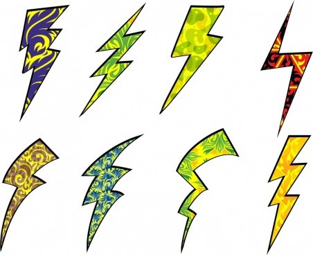 lightning design elements various colored shapes isolation