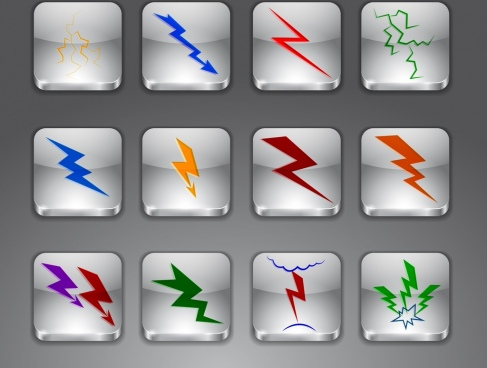 lightning icons collection various colored shapes isolation