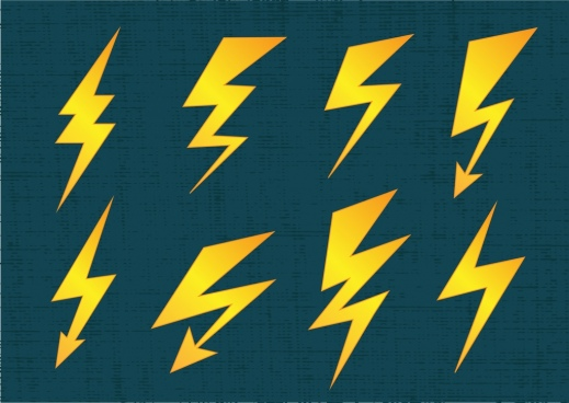 lightning icons collection various flat yellow shapes