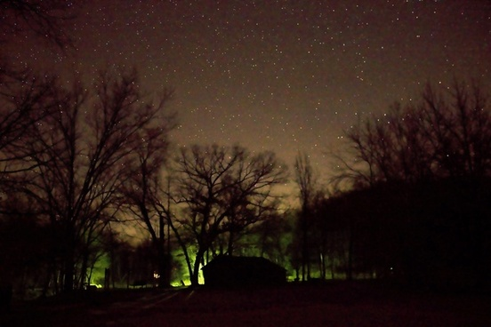 lights behind the cabin at ozark national scenic riverways missouri