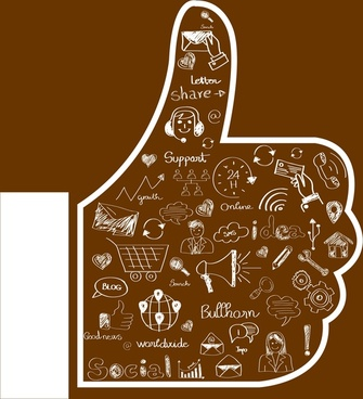 like icon thumbs up and handdrawn symbols design