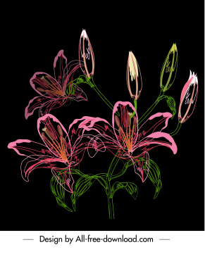lily flora painting dark classical handdrawn sketch