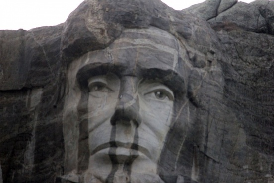 lincoln face on mountain in the black hills south dakota