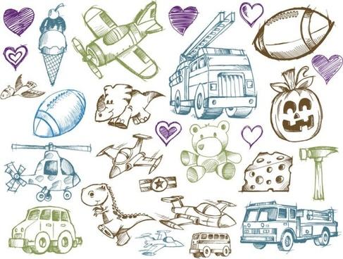 line art cartoon toys vector