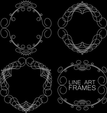 line art frames design vector