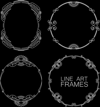 line art frames design vector