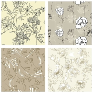 flora pattern templates classic handdrawn sketch