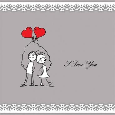 line art painted valentine balloons vector illustration of love