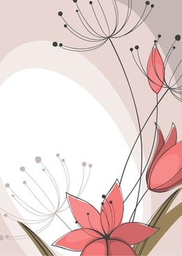 flower background flat classical handdrawn outline
