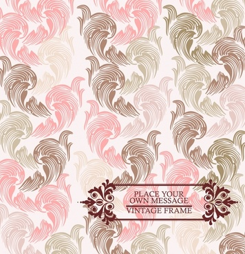 line art pink floral pattern background vector
