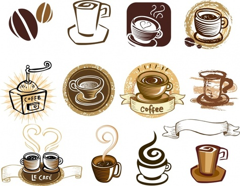 coffee products design elements retro symbols sketch