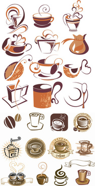 line coffee elements vector graphic