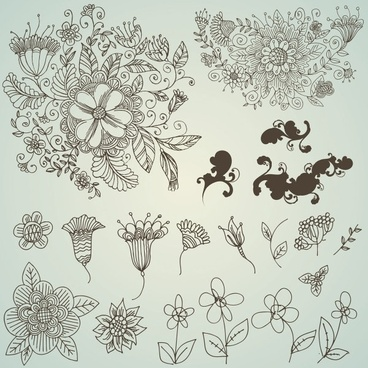 line drawing flower pattern vector