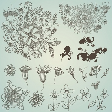 flowers pattern design elements classical flat sketch