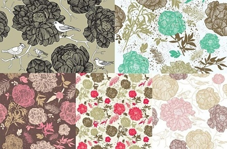 flower patterns background sets retro colored sketch style