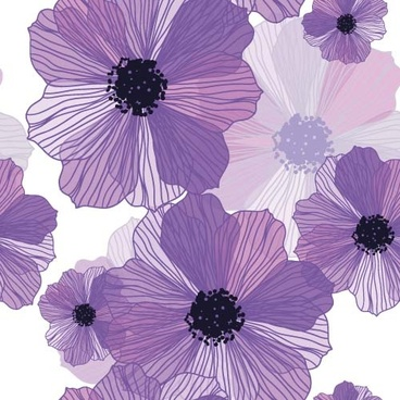 line flower vector seamless pattern