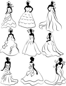 line of draft marriage gauze bride vector