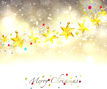 line of golden star merry christmas background