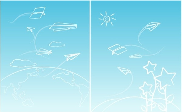 line paper airplane graffiti vector