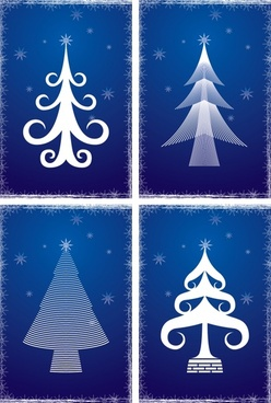 christmas background templates flat simple fir tree sketch