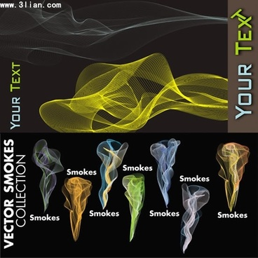smoke icons templates colored 3d motion design
