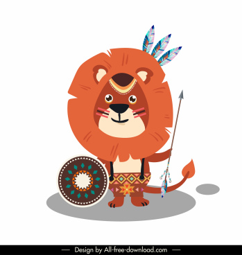 lion animal icon ethnic costume sketch stylized cartoon