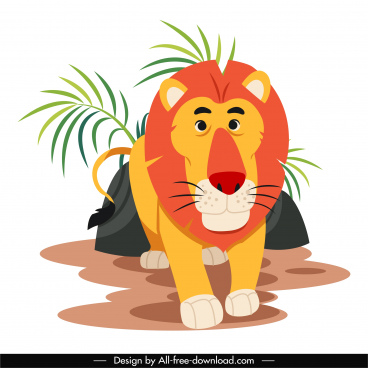 lion animal painting cute cartoon character sketch